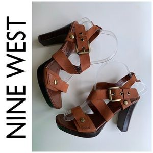 Nine West Brown leather strappy sandal shoes